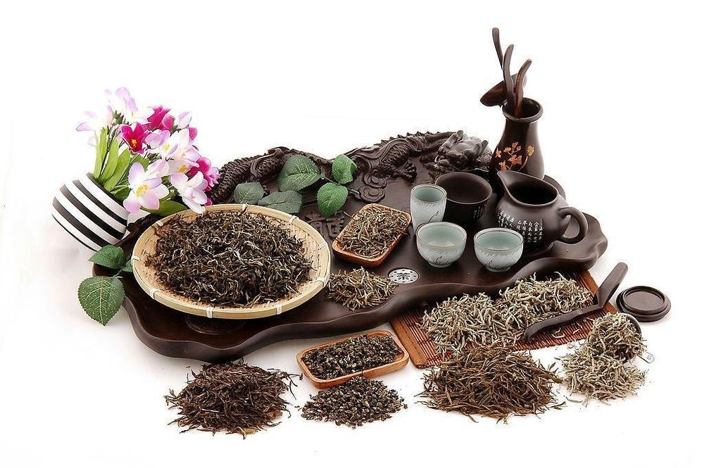 Dienblad met verschillende theeën